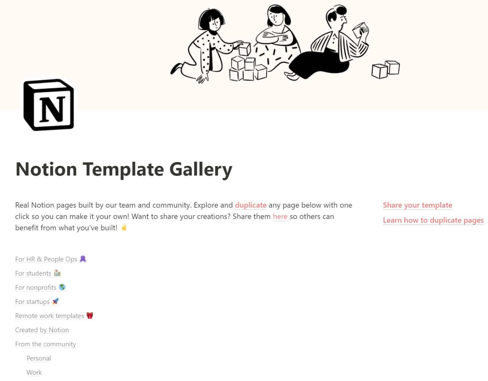 Notion templates officielles