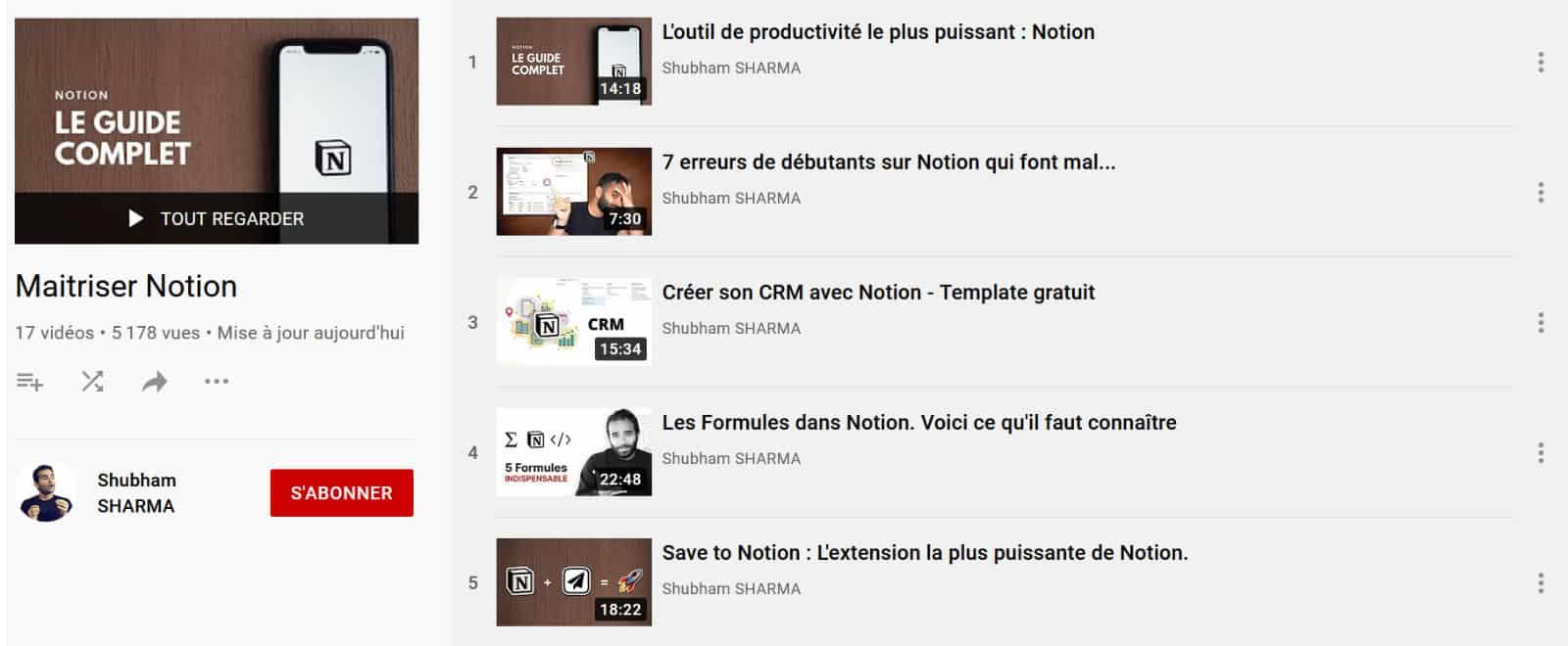 Chaine YouTube sur Notion
