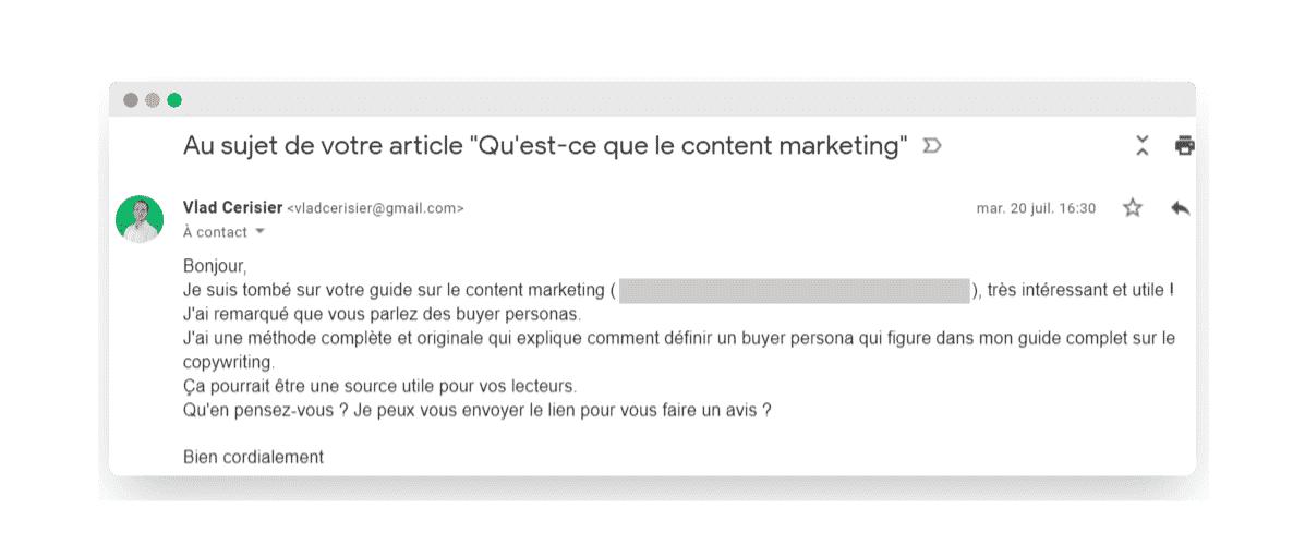 Demande backlink email