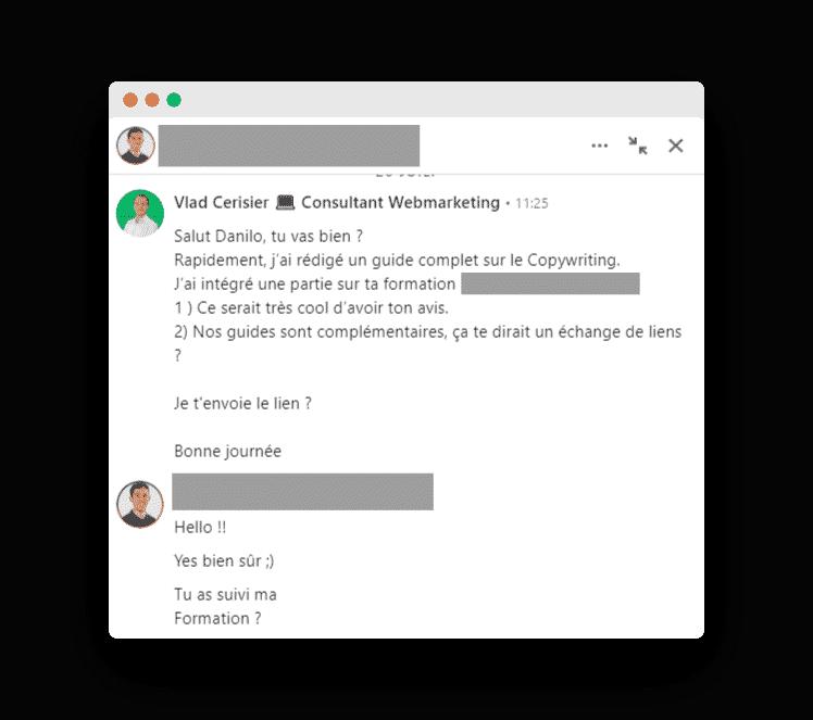 Échange de liens sur LinkedIn
