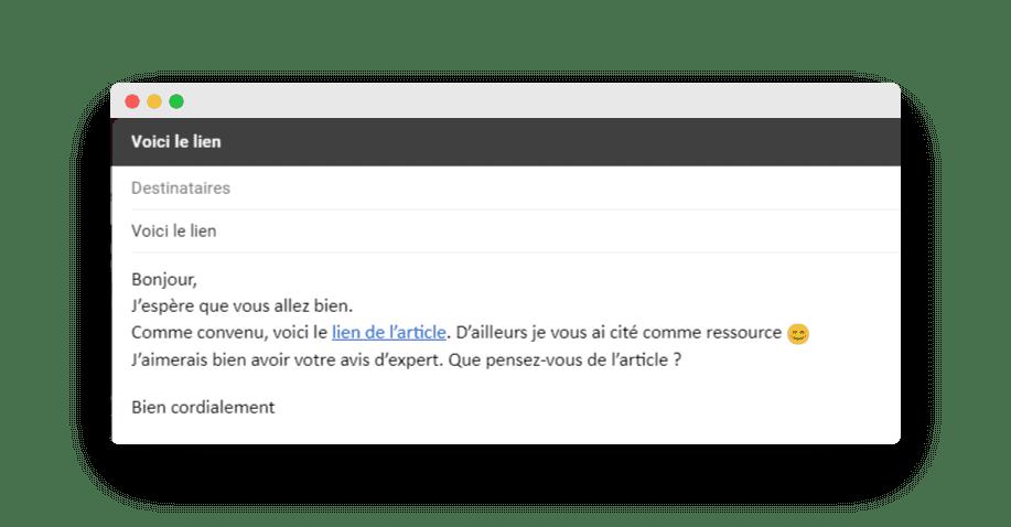 Email pour envoyer le lien