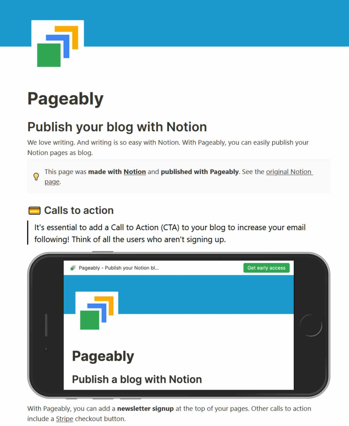 Site Notion avec Pageably